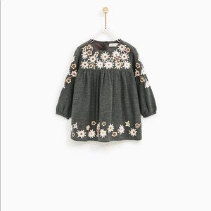 Floral Zara Gray Embroidered Dress